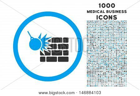 Wall Destruction rounded glyph bicolor icon with 1000 medical business icons. Set style is flat pictograms, blue and gray colors, white background.