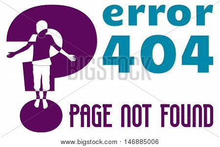 web page error 404, page not found, isolated illustration vector with boy silhouette