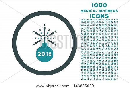 2016 Fireworks Detonator rounded glyph bicolor icon with 1000 medical business icons. Set style is flat pictograms, soft blue colors, white background.