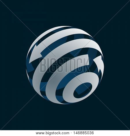 Abstract Globe Logo Element. Rotating Arrows. Vector Symbol of Globalization. 3D Design. Rotating Globe. Vector Illustration
