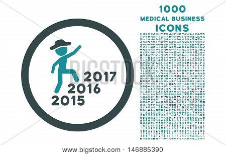 Gentleman Steps Years rounded glyph bicolor icon with 1000 medical business icons. Set style is flat pictograms, soft blue colors, white background.