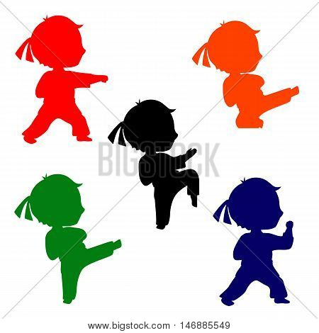 Set of colorful karate poses silhouettes. Martial arts for kids illustration. Silhouettes of boy practices kicks.