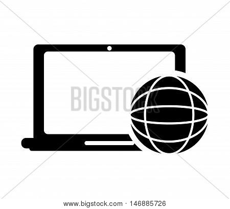 flat design laptop frontview and earth globe diagram icon vector illustration