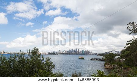 Sydney - February 29 2016: Beautiful Opera House in Sydney high urban skyscrapers and bridge Harbour Bridge view from the zoo February 29 2016 Sydney Australia