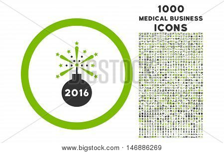 2016 Fireworks Detonator rounded glyph bicolor icon with 1000 medical business icons. Set style is flat pictograms, eco green and gray colors, white background.