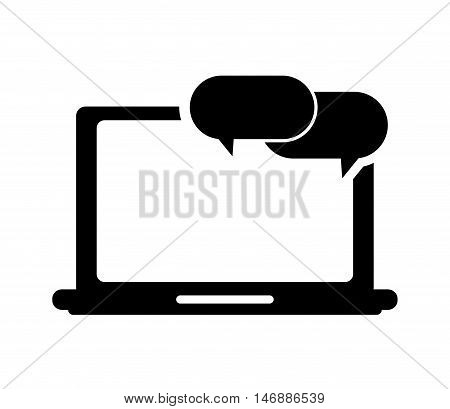 flat design laptop frontview and conversation bubble icon vector illustration