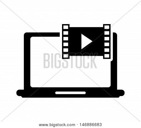 flat design laptop frontview and video  icon vector illustration
