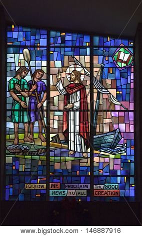 BRONX NEW YORK - JANUARY 8: Stained glass of Jesus preaching inside Saint Theresa of the infant Jesus Catholic Church. Taken January 8 2016 in New York.