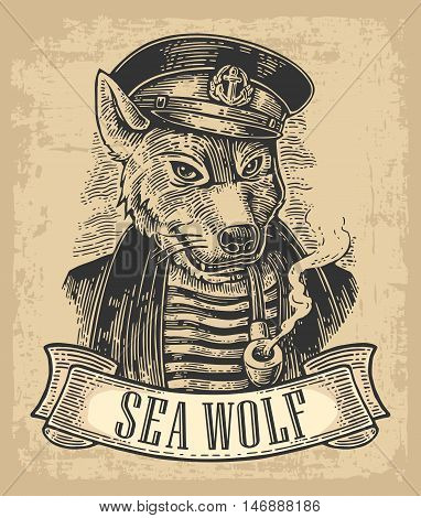Sea wolf with pipe and ribbon. Vector engraving vintage illustrations. Isolated on beige background. For tattoo, poster, web and label