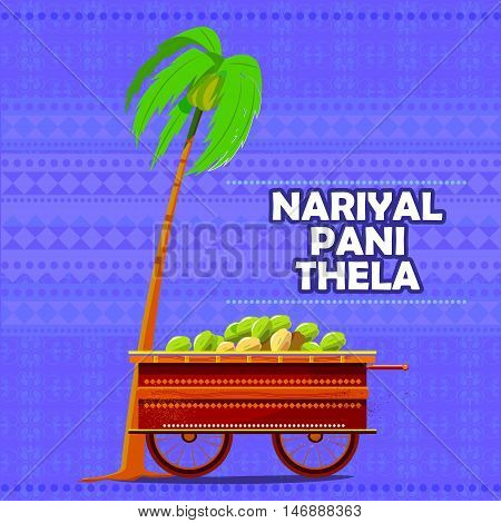 easy to edit vector illustration of Indian Nariyal Pani Tender Coconut Water cart representing street food of India