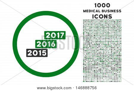 Years Stairs rounded glyph bicolor icon with 1000 medical business icons. Set style is flat pictograms, green and gray colors, white background.