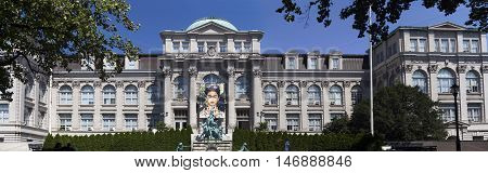 BRONX NEW YORK - AUGUST 19: Panoramic of LuEsther T. Mertz Library at Botanical Garden. Taken August 19 2015 in New York.