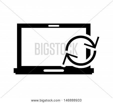 flat design laptop frontview and refresh arrows icon vector illustration
