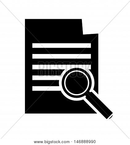 flat design paper document and magnifying glass icon vector illustration