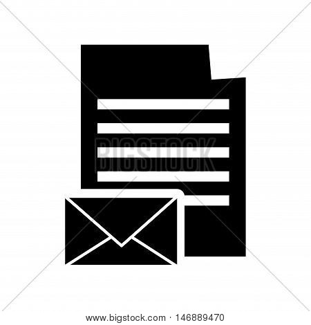 flat design paper document and message envelope icon vector illustration