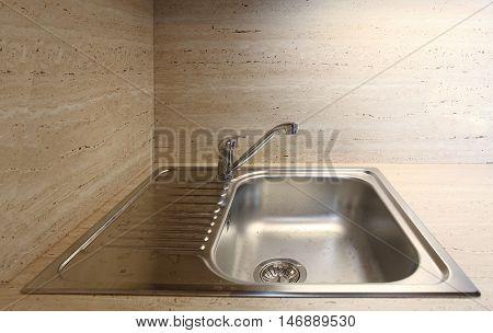 Kitchen sink on marble-slab. Scene from luxury interior.