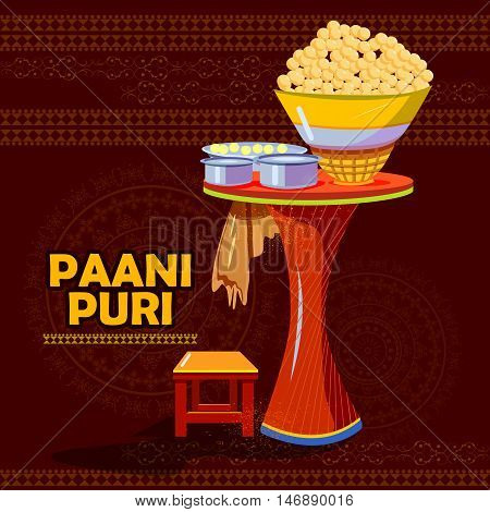 easy to edit vector illustration of Indian Panipuri or Gol Gappa representing street food of India