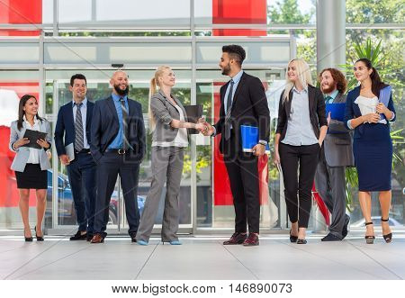 Business People Group Boss Hand Shake In Modern Office, Businesspeople Team Handshake Sign Contract Agreement Deal