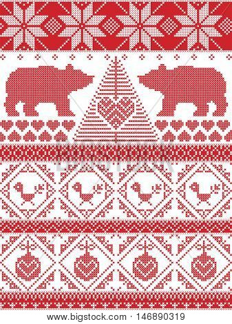 Tall Scandinavian Printed Textile style and inspired by Norwegian Christmas and festive winter seamless pattern in cross stitch with polar bear, Christmas tree, heart, robin bird , bauble