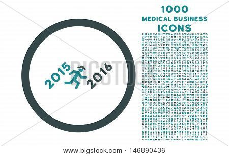 Run to 2016 Year rounded glyph bicolor icon with 1000 medical business icons. Set style is flat pictograms, soft blue colors, white background.