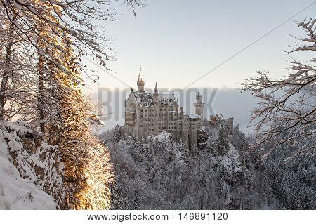 Neuschwanstein Castle in winter landscape in Germany