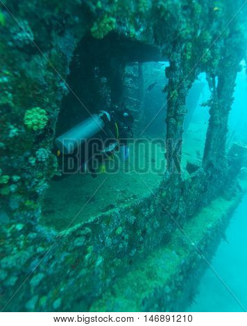 Remaining of cargo ship on ocean bottom and diver Maldives