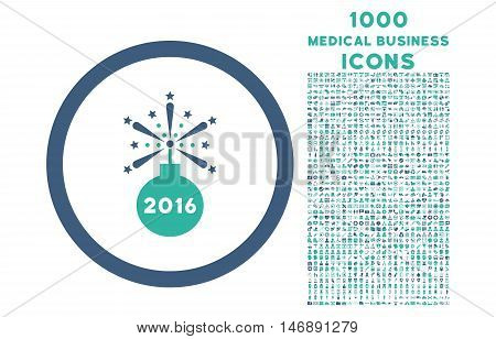 2016 Fireworks Detonator rounded glyph bicolor icon with 1000 medical business icons. Set style is flat pictograms, cobalt and cyan colors, white background.