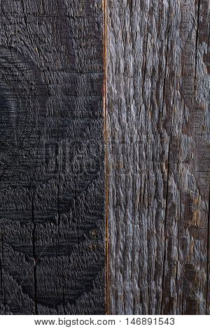 Grey wood board surface texture with defects like knots and snag on it