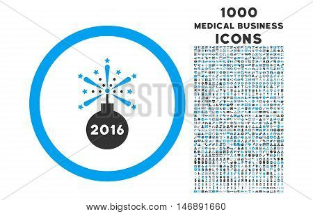 2016 Fireworks Detonator rounded glyph bicolor icon with 1000 medical business icons. Set style is flat pictograms, blue and gray colors, white background.
