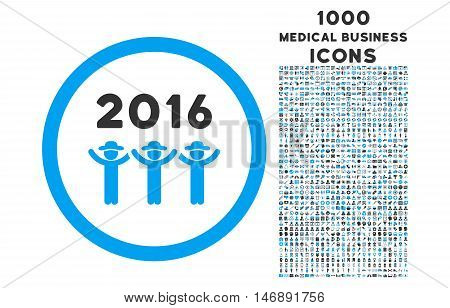 2016 Guys Dance rounded glyph bicolor icon with 1000 medical business icons. Set style is flat pictograms, blue and gray colors, white background.