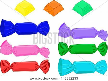 Set of candies in wrapper folder Colorful cartoon candy
