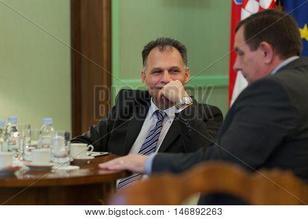 ZAGREB, CROATIA - OCTOBER 14, 2013: Veljko KAJTAZI, Croatian parliament representative of the Roma and minorities.