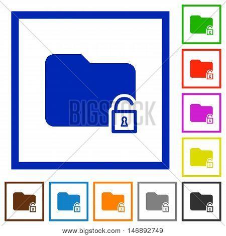 Set of color square framed unlock folder flat icons