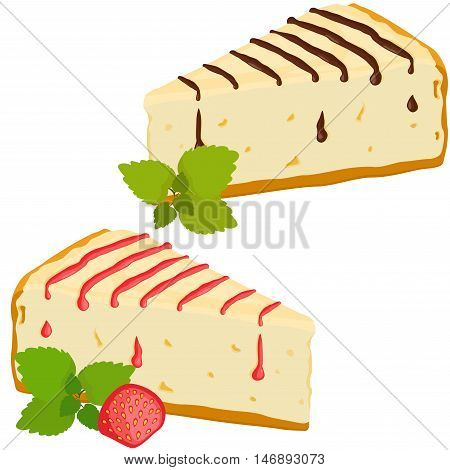 Cheesecakes set. Cheesecake with strawberry and chocolate vector illustration. Isolated on white background.