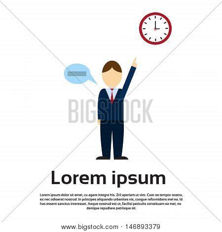 Business Man Point Finger To Clock Time Management Deadline Concept Flat Vector Illustration