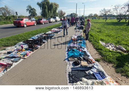 ZAGREB, CROATIA - OCTOBER 20, 2013: People at Zagreb's flea market Hrelic.