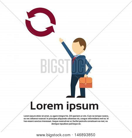 Business Man Point Finger To Update Icon New Strategy Concept Flat Vector Illustration