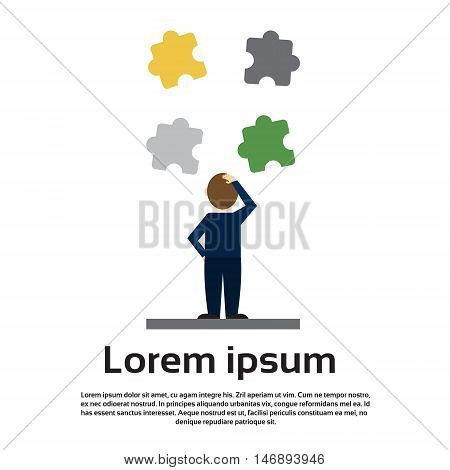 Business Man Solve Puzzle Solution Concept Flat Vector Illustration