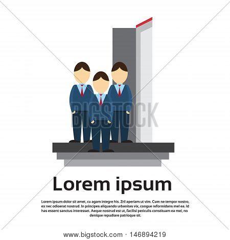 Business Man Group Team Enter Open Door Concept Flat Vector Illustration