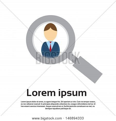 Magnifying Zoom Glass Business Person Portrait Candidate Concept Recruitment Flat Vector Illustration