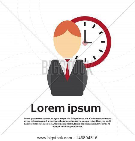 Business Man Clock Time Management Deadline Concept Flat Vector Illustration