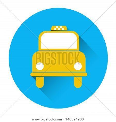 Taxi Service Icon Book Car Application Button Flat Vector Illustration