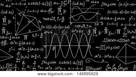 Mathematical vector seamless pattern with plots, formulas, geometrical figures and calculations. You can use any color of background