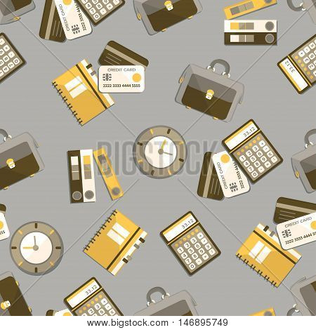 Seamless pattern with finance, accounting and auditing icons. Business economic illustration.