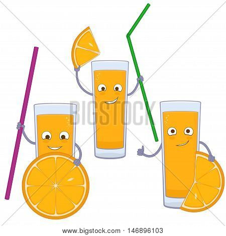 Funny orange juice cartoon character. Glass of orange juice with orange slices isolated on white background.