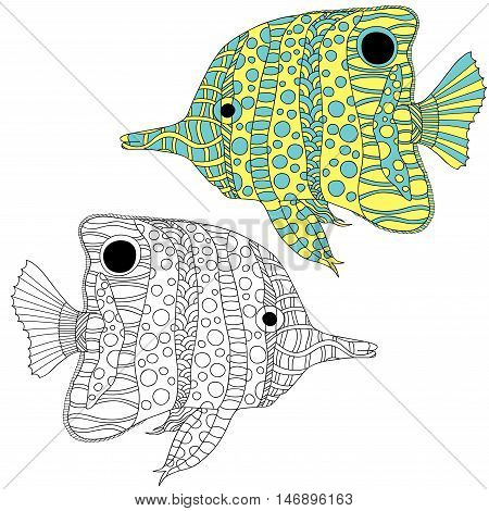 Hand drawn butterflyfish vector illustration. Anti stress coloring page art ethnic doodle pattern.