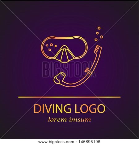 Vector diving logo. Thin line icon. Snorkelling diving