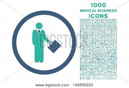 Businessman rounded glyph bicolor icon with 1000 medical business icons. Set style is flat pictograms, cobalt and cyan colors, white background.