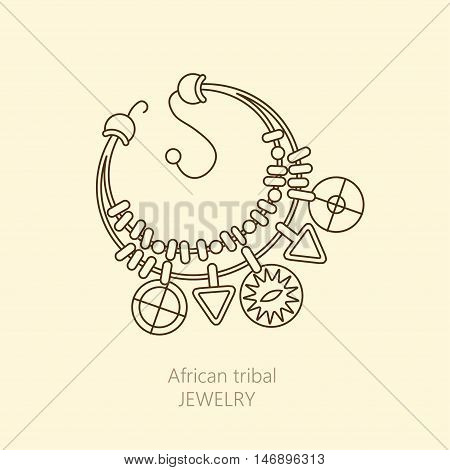 Vector logo with national African necklace. Jewelry for magic ceremonies and decorations.