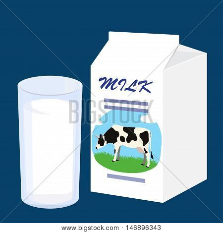 Milk carton with a picture of a cow and glass of fresh milk. Vector illustration on blue background.